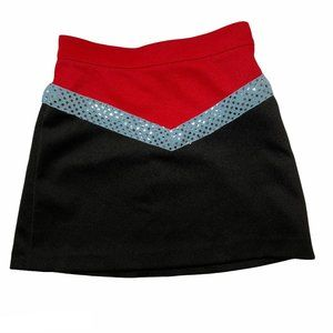 Red Black Dance Cheer Skirt Blue Sequin Youth M